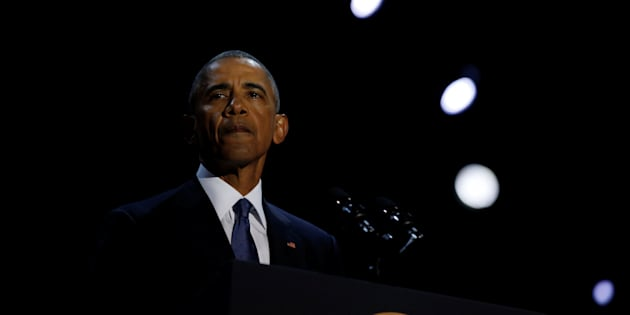 U.S. President Barack Obama delivers his farewell address in Chicago, Illinois on January 10, 2017.