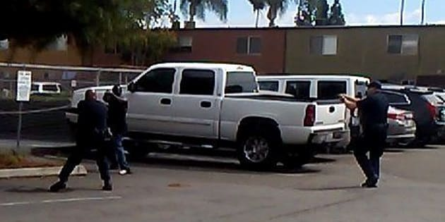 Screengrab of a deadly confrontation between a black man and El Cajon police officers