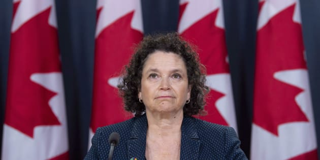 Commissioner of the Environment and Sustainable Development Julie Gelfand listens to a question during a news conference in Ottawa on Oct. 2, 2018.
