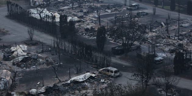 The remains of the Boston Flats trailer park is pictured after being destroyed by a wildfire in Boston Flats, B.C. July 17, 2017.