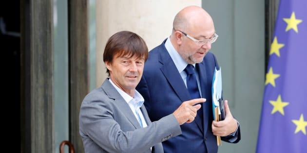 Nicolas Hulot et Stéphane Travert quittant l'Elysée, le 28 juin 2017
