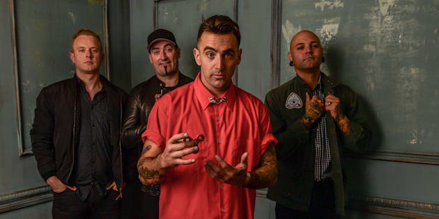 Jay Beni, Tommy Mac, Jacob Hoggard and Dave Rosin of Hedley pose for a portrait at the 2017 iHeartRADIO MuchMusic Video Awards on June 18, 2017 in Toronto.