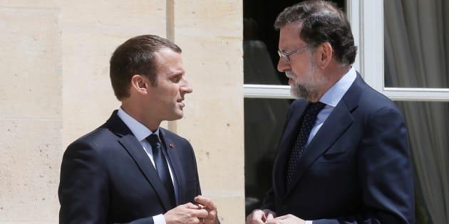 """""""Attaché à l'unité constitutionnelle de l'Espagne"""", Macron soutien Rajoy"""