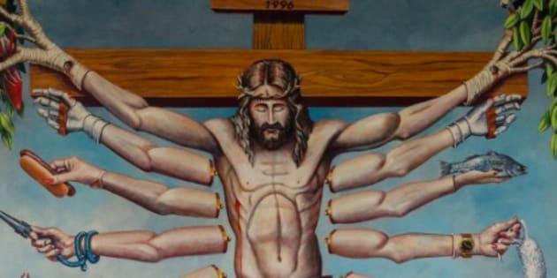 Essa imagem de Jesus na mostra provocou indignação de cristãos, que denunciaram vilipêndio.