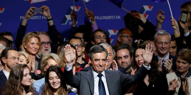Francois Fillon, à son QG de campagne après la victoire à la primaire.