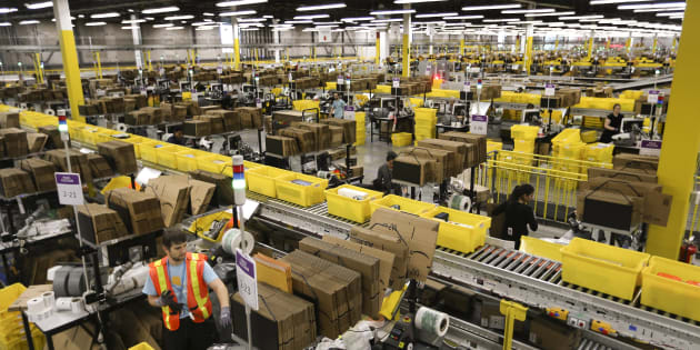An Amazon fulfillment centre in Brampton, Ont. The online retail giant is opening a new fulfillment centre near Edmonton and hiring 600 in its Toronto offices.
