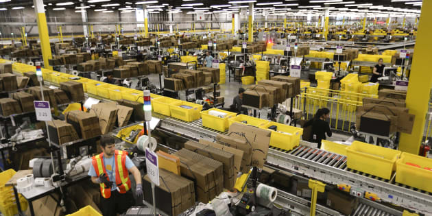 An Amazon fulfillment centre in Brampton, Ont. A union alleges the retail giant has engaged in unfair labour practices.