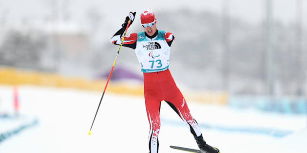 Mark Arendz of Canada in action during Men's 15km, Standing in Biathlon during day seven of the PyeongChang 2018 Paralympic Games on March 16, 2018.