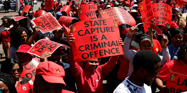 Cosatu and SACP members marching against state capture and corruption shouted racist abuse at elected official Michael Sun, who had come to receive their memorandum.