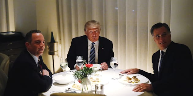 U.S. President-elect Donald Trump sits at a table for dinner with former Massachusetts Governor Mitt Romney (R) and his choice for White House Chief of Staff Reince Priebus (L) at Jean-Georges at the  Trump International Hotel & Tower in New York, U.S., November 29, 2016.  REUTERS/Lucas Jackson      TPX IMAGES OF THE DAY