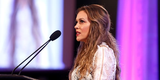 BEVERLY HILLS, CA - APRIL 19:  Actress Alyssa Milano speaks at the 2017 World Of Children Hero Awards at Montage Beverly Hills on April 19, 2017 in Beverly Hills, California.  (Photo by Randy Shropshire/Getty Images for World of Children)