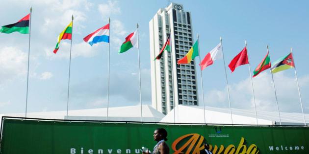 L'hôtel Sofitel Ivoire, où se tiendra le 5ème sommet EU-Afrique à Abidjan, Côte d'Ivoire, le 29 novembre 2017.