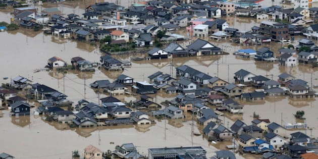 豪雨被害の倉敷市、個人の救援物...