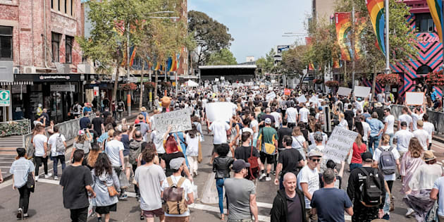 Thousands of protesters have hit the streets in Sydney after Donald Trump's inauguration as US president.