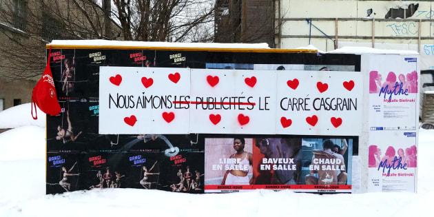 Action réalisée le matin de la Saint-Valentin et destinée à prouver notre amour au Carré Casgrain, même s'il se retrouve barricadé par les publicités.