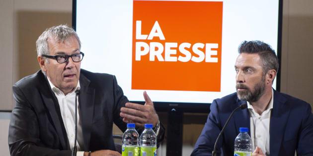 L'éditeur de La Presse, Guy Crevier, et le président du quotidien, Pierre-Elliott Levasseur, durant une conférence de presse, le 8 mai dernier.