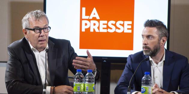 L'éditeur Guy Crevier et le président de «La Presse» Pierre-Elliott Levasseur.
