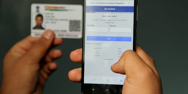 Facebook's mobile site is testing the 'name as per Aadhaar' prompt when users create a new account. (Photo by Nasir Kachroo/NurPhoto via Getty Images)