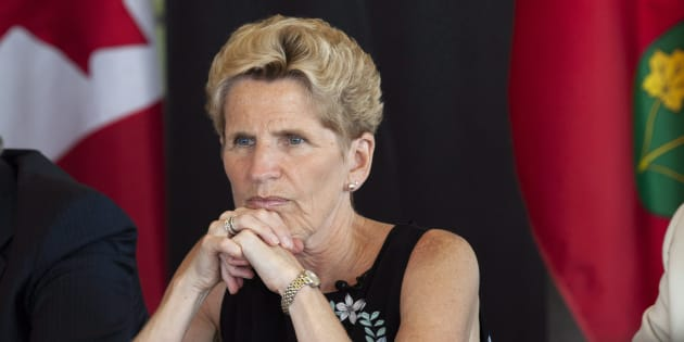 Ontario Liberal Party Leader Kathleen Wynne listen to students at the University of Waterloo during a campaign stop in Waterloo, Ont., on Friday, June 1, 2018.