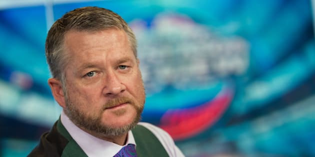"Gregg Zaun on the set at Rogers. Zaun was fired for making ""inappropriate"" comments to colleagues."