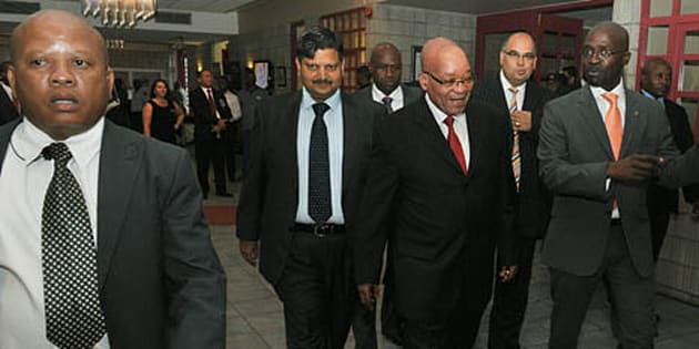 President Zuma accompanied by Atul Gupta, Minister of Public Enterprise Malusi Gigaba and CEO of The New Age Nazeem Howa.