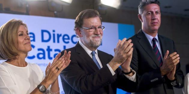 María Dolores de Cospedal, Mariano Rajoy y Xavier García Albiol, esta tarde durante la Junta Directiva extraordinaria del PP catalán en Barcelona.