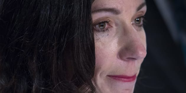Martine Ouellet pauses during her remarks during a news conference in Montreal on June 4, 2018.