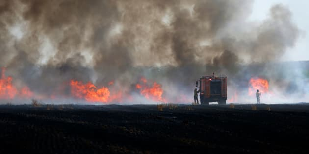 Israelis try to slow the progression of fire in a field near the Kibbutz of Mefallesim, along the border with the Gaza strip, on May 15, 2018 after it was caused by incendiaries tied to kites flown by Palestinian protesters from across the border. - Palestinians were gathering today for fresh protests along the Gaza border, a day after Israeli forces killed dozens there as the US embassy opened in Jerusalem on what was the conflict's bloodiest day in years. (Photo by AHMAD GHARABLI / AFP)        (Photo credit should read AHMAD GHARABLI/AFP/Getty Images)