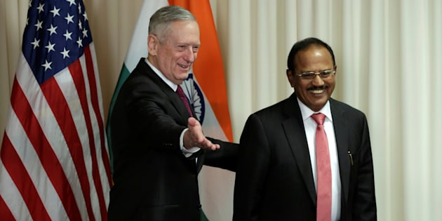 U.S. Defense Secretary James Mattis (L) welcomes Ajit Doval, National Security Advisor of India, before their meeting at the Pentagon in Washington, U.S., March 24, 2017.