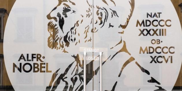 Image of alfred nobel on a window; stockholm sweden