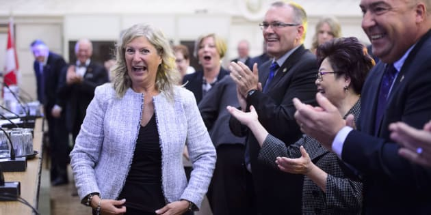 New Conservative MP Leona Alleslev is welcomed during the Tory caucus meeting on Parliament Hill on Sept. 19, 2018.