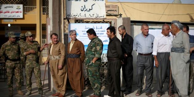 Des Kurdes vont voter à Erbil, le 25 septembre.