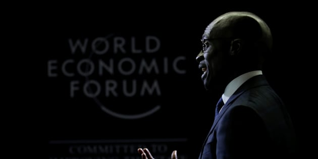 South African finance minister Malusi Gigaba speaks to journalists at the World Economic Forum on Africa 2017 meeting in Durban. May 3, 2017.