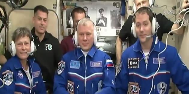 Thomas Pesquet, le 19 novembre, lors de son arrivée à bord de l'ISS.