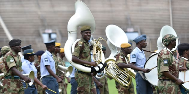 Zimbabwe Defence Force military brass band marches foward November 23, 2017 during drills to prepare for the inauguration of incoming president Emerson Mnangagwa at the capital Harare's national stadium.