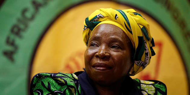 Former African Union chairperson Nkosazana Dlamini-Zuma reacts before addressing a lecture to members of the African National Congress Youth League in Durban, South Africa, April 20, 2017.