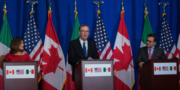 United States Trade Representative Robert Lighthizer, Canadian Foreign Affairs minister Chrystia Freeland, and Mexican Secretary of Economy Ildefonso Guajardo Villarreal hold a press conference at the conclusion of the fourth round of negotiations for a new North American Free Trade Agreement at the General Services Administration headquarters in Washington.