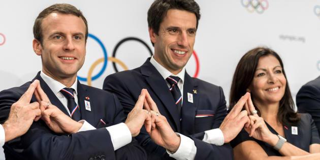 Emmanuel Macron, Tony Estanguet et Anne Hidalgo face au CIO, le 11 juillet à Lausanne.