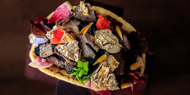 Le  taco proposé par le chef Juan Licerio Alcala à l'hôtel Grand Velas (mars 2017)