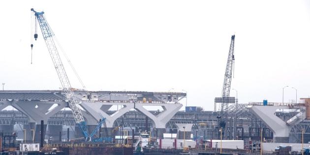 Photo du 18 juin dernier du site de construction du pont Champlain.