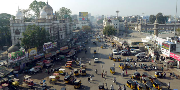 busy streets of hyderabad in india