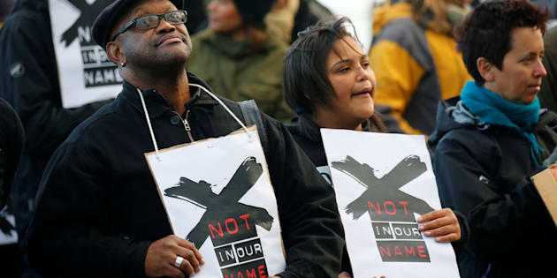 Demonstrators protest against the decision by the SABC that it would not broadcast scenes of violent protest. Photo:  REUTERS / Mike Hutchings
