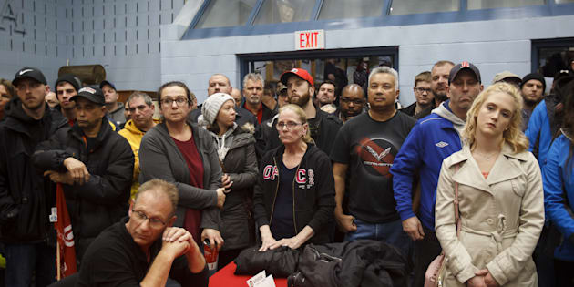 "General Motors Co. workers gather for an information meeting at Unifor Union Hall in Oshawa, Ont., Mon. Nov. 26. GM announced on Monday that the Oshawa plant will be ""unallocated"" in 2019, meaning no new production is scheduled there."