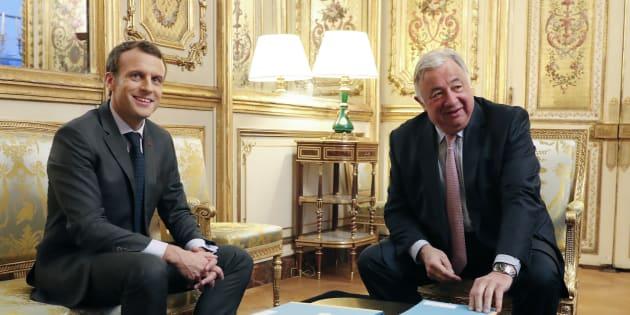 Emmanuel Macron et Gérard Larcher à l'Elysée au mois de novembre 2017.