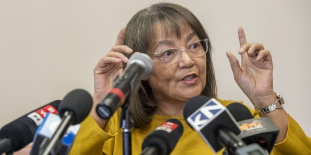 Patricia de Lille addresses the media after her ousting as Cape Town mayor by the Democratic Alliance on May 08, 2018.