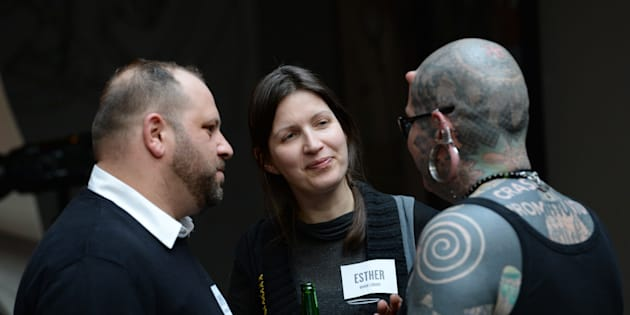 """(Left to right) Human Library """"books"""" Admir Ismanovski, the Gypsy book; Esther Lemons, the Pansexual book; and Muffe Vulnuz, the Extreme Body Modified book, at Heineken & Otilde's Open Your World campaign launch."""