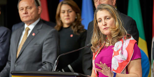 Freeland and Peru's Foreign Minister Nestor Francisco Popolizio Bardales briefing the press following the 10th ministerial meeting of the Lima Group in Ottawa, Canada, Feb. 4, 2019.