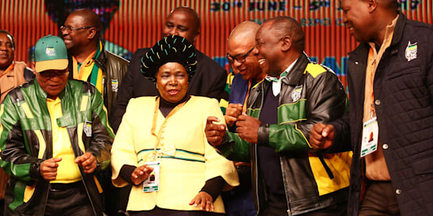 President Jacob Zuma, Nkosazana Dlamini-Zuma, Deputy President Cyril Ramaphosa and Zweli Mkhize sing and dance during the African National Congress (ANC) 5th national policy conference at the Nasrec Expo Centre on July 05, 2017.