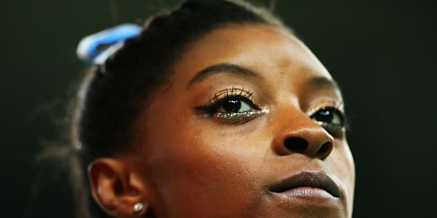 Simone Biles of the United States looks on during the Women's Individual All Around Final atthe 2016 Rio Olympics.