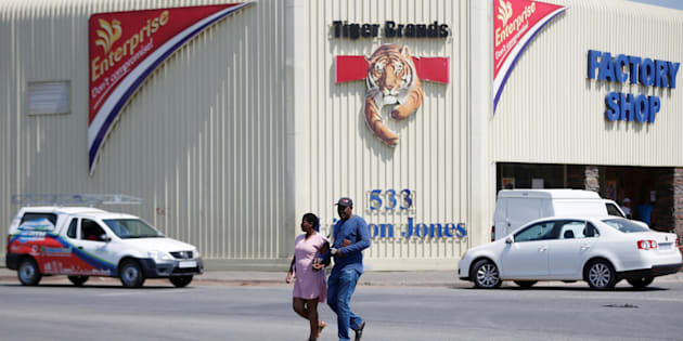 A couple leaves Tiger Brands factory shop in Germiston, Johannesburg, South Africa, March 5, 2018.